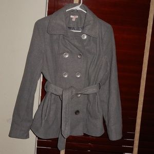 Women's BONGO Gray Belted Pea Coat